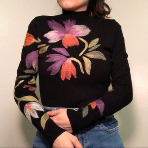Vintage floral turtleneck